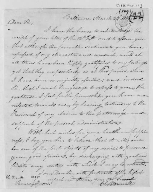 Charles Burrall to Thomas Jefferson, March 22, 1814
