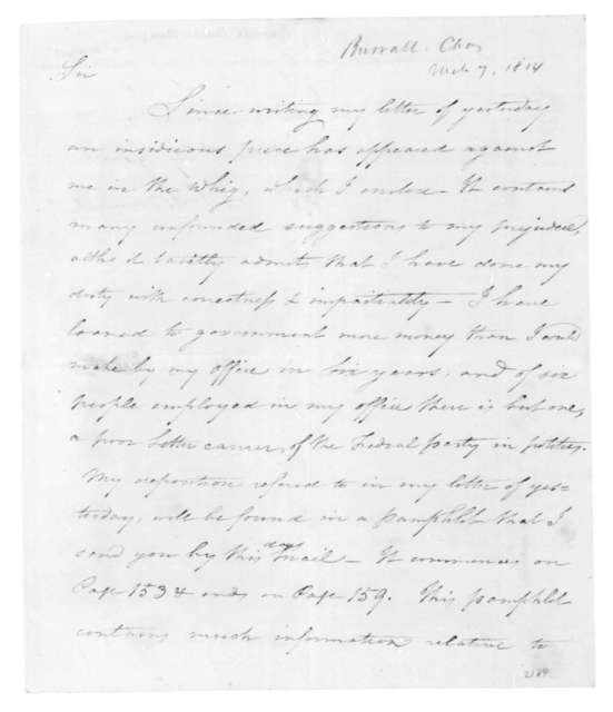 Charles Burrall to Thomas Jefferson, March 7, 1814.