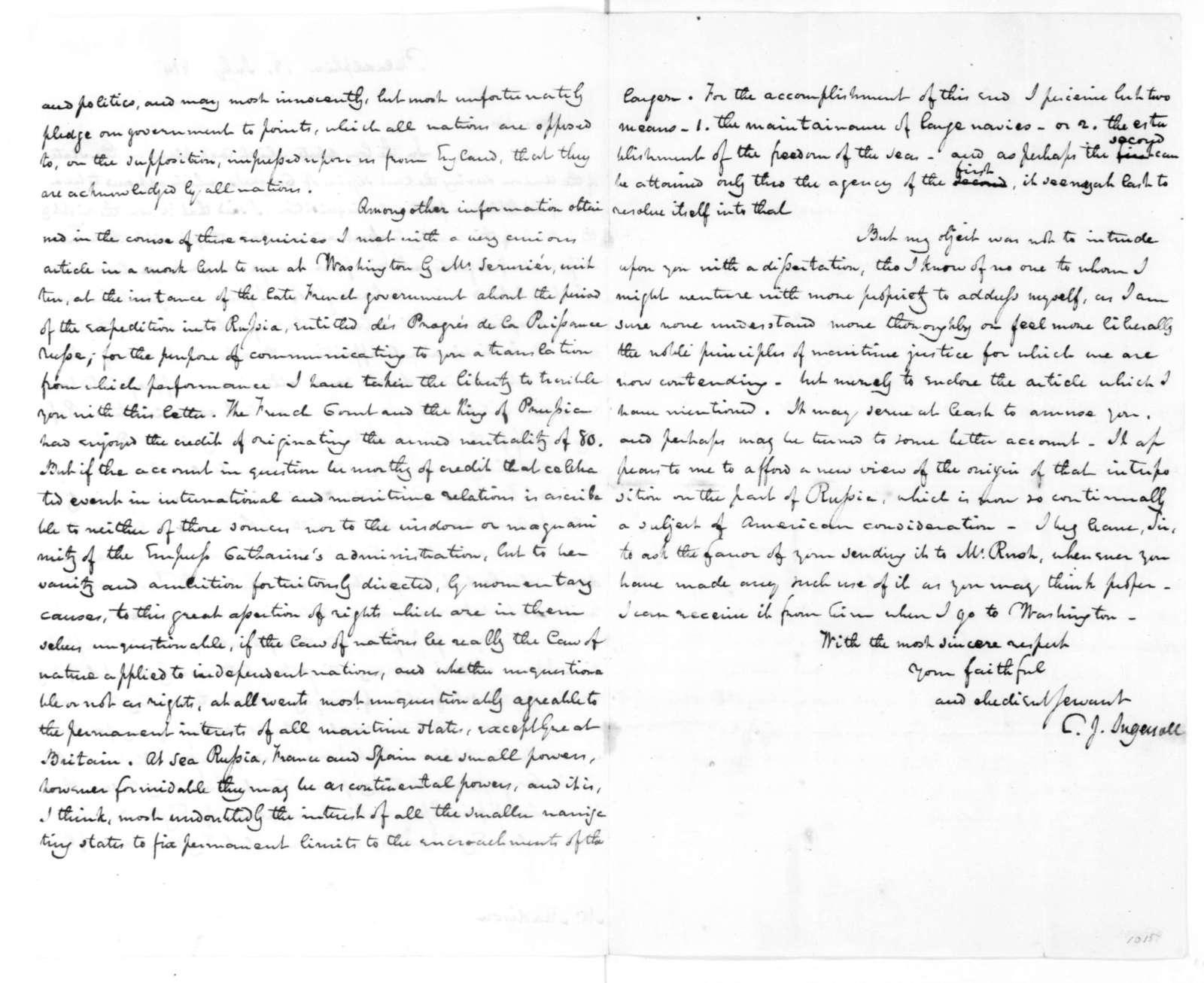 Charles J. Ingersoll to James Madison, July 18, 1814.