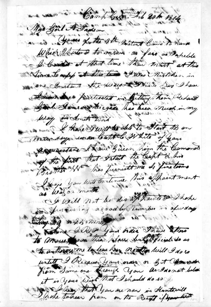 Charles Kavanaugh to Andrew Jackson, February 20, 1814