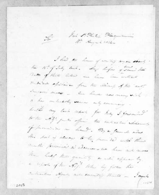 Charles Wollstonecraft to Andrew Jackson, August 16, 1814