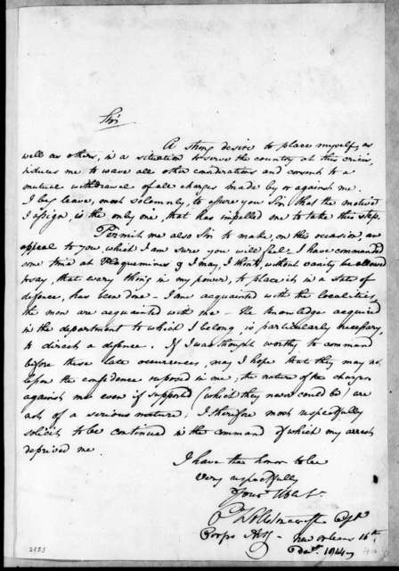 Charles Wollstonecraft to Andrew Jackson, December 16, 1814