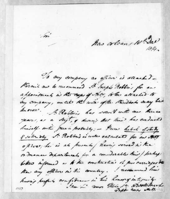 Charles Wollstonecraft to Andrew Jackson, December 18, 1814