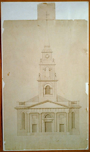 "[Church (""New South Church""), Summer Street and Bedford Street, Boston, Massachusetts. Exterior. Elevation]"