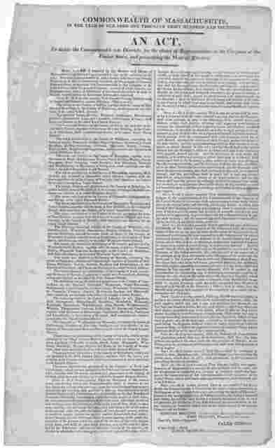 Commonwealth of Massachusetts, in the year of our Lord one thousand eight hundred and fourteen. An act to divide the Commonwealth into Districts, for the choice of representatives in the Congress of the United States, and prescribing for the mod