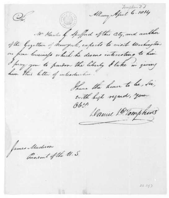 Daniel D. Tompkins to James Madison, April 6, 1814.