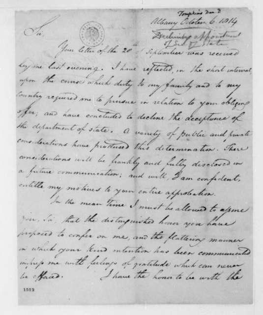 Daniel D. Tompkins to James Madison, October 6, 1814.