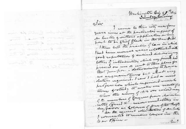 Daniel Parker to James Madison, October 29, 1814. Prefaced with a note from Daniel Parker to Richard Cutts.