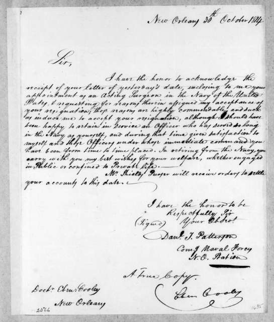 Daniel Todd Patterson to Ebenezer Cooley, October 30, 1814