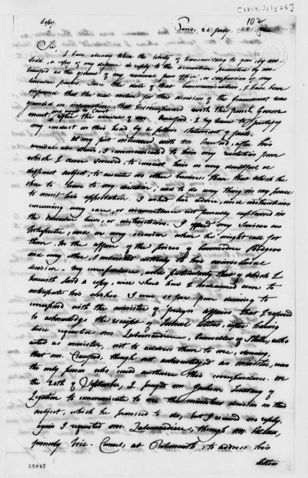 David B. Warden to Thomas Jefferson, July 25, 1814