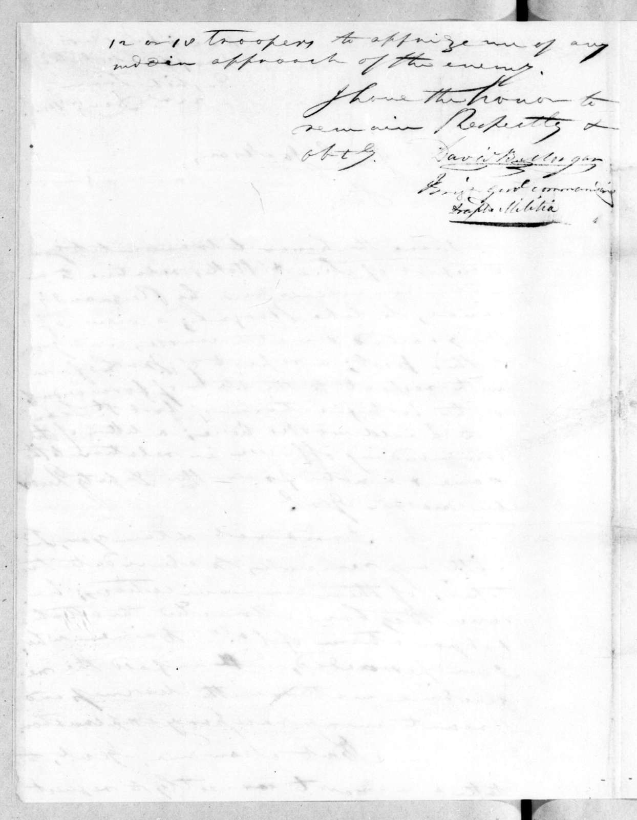 David Bannister Morgan to Andrew Jackson, December 22, 1814