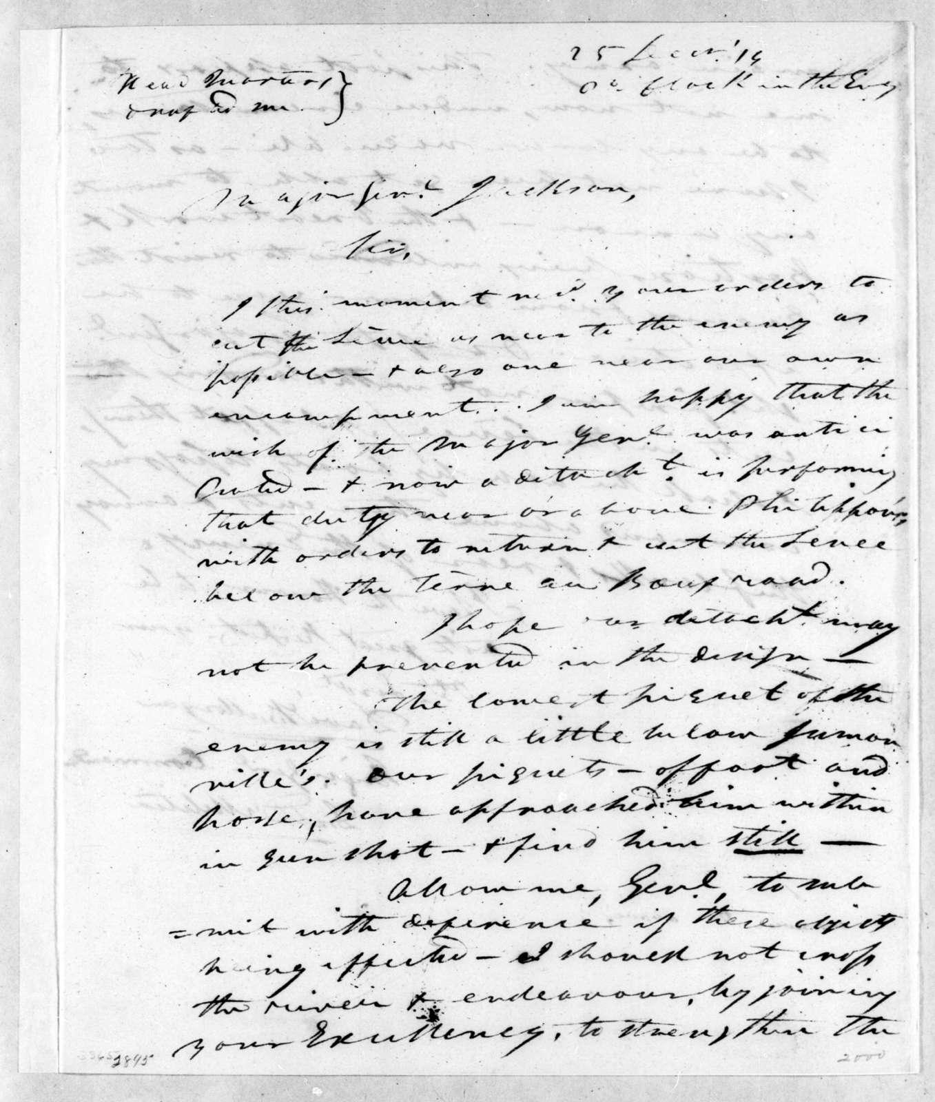 David Bannister Morgan to Andrew Jackson, December 25, 1814