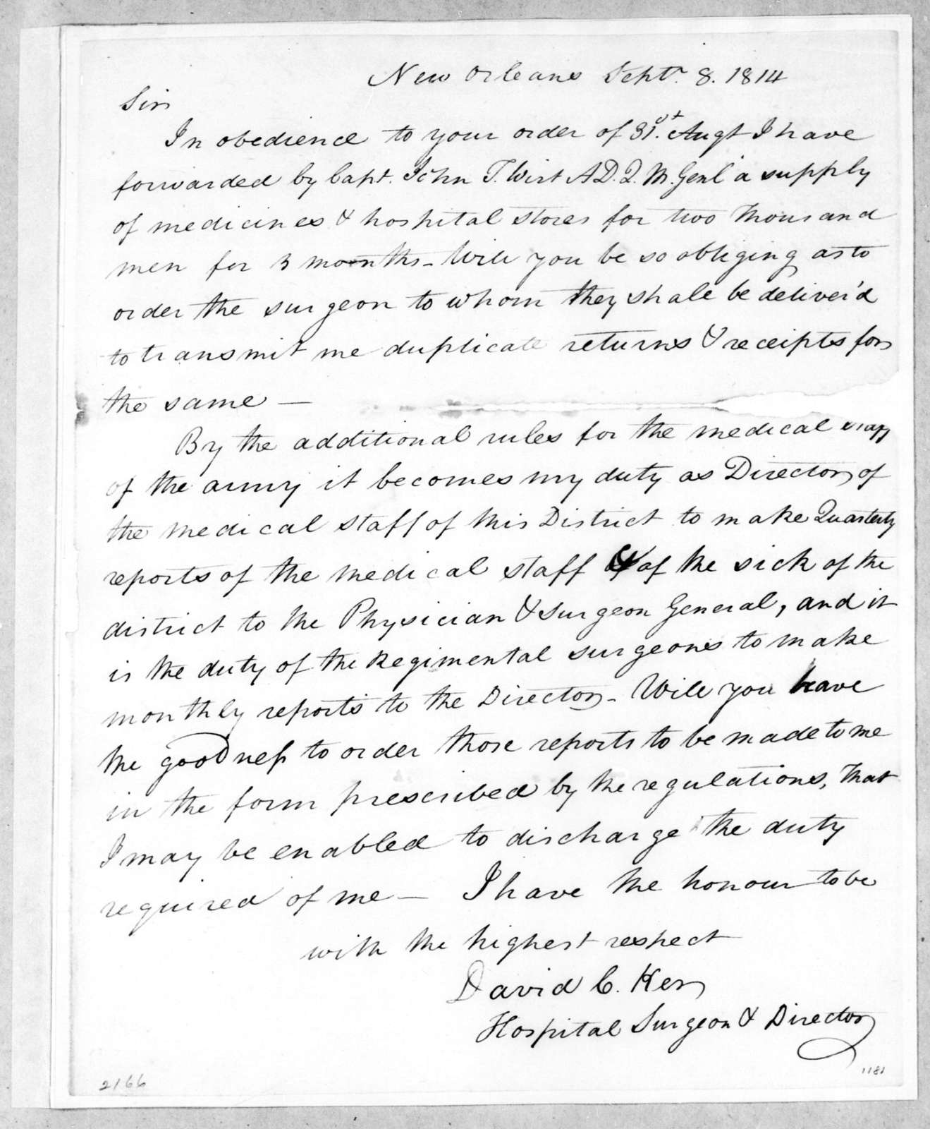 David C. Ker to Andrew Jackson, September 8, 1814