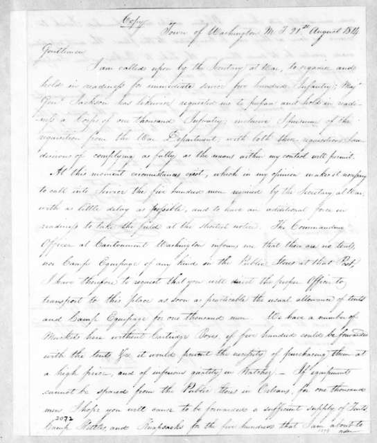David Holmes to Unknown, August 21, 1814