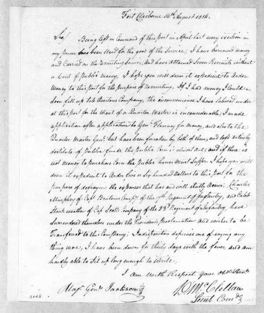 David McClellan to Andrew Jackson, August 16, 1814