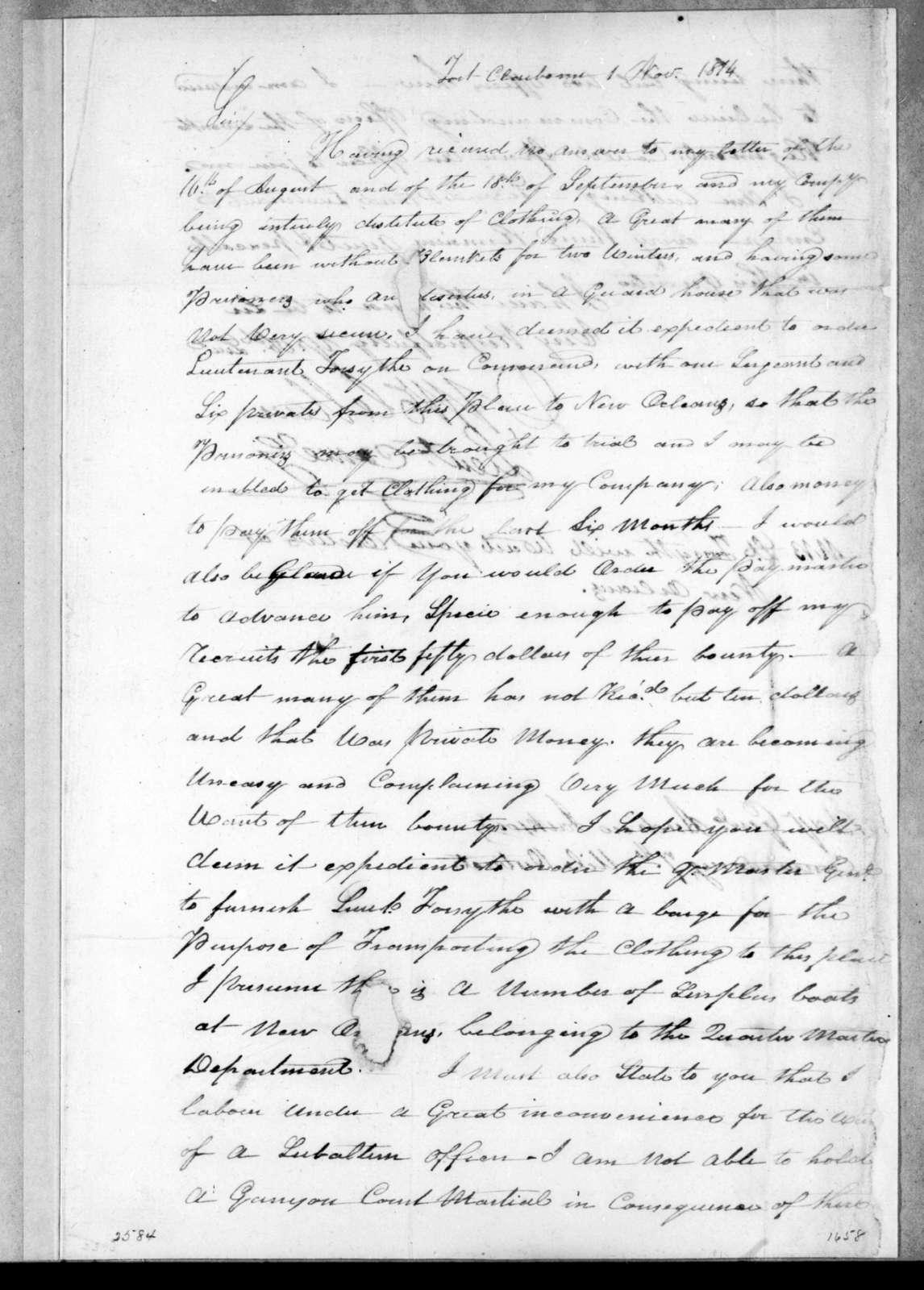 David McClellan to Andrew Jackson, November 1, 1814