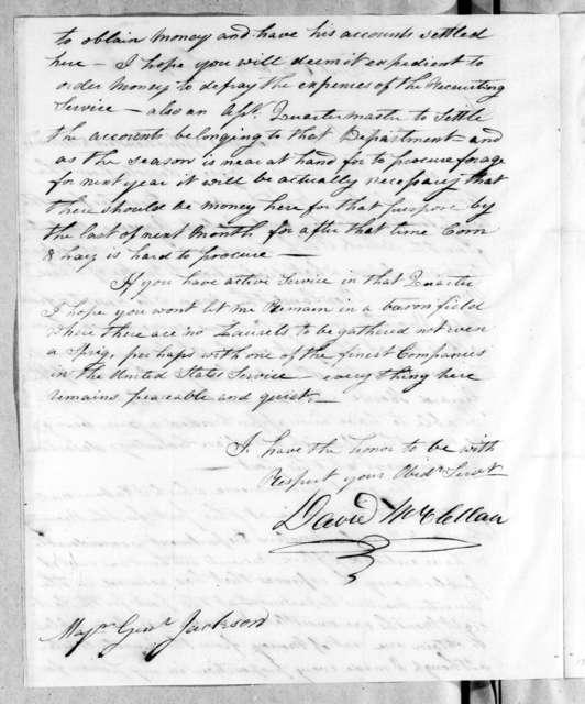 David McClellan to Andrew Jackson, September 13, 1814