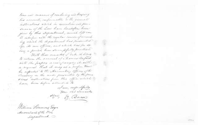 E. Bacon to William Simmons, April 18, 1814.