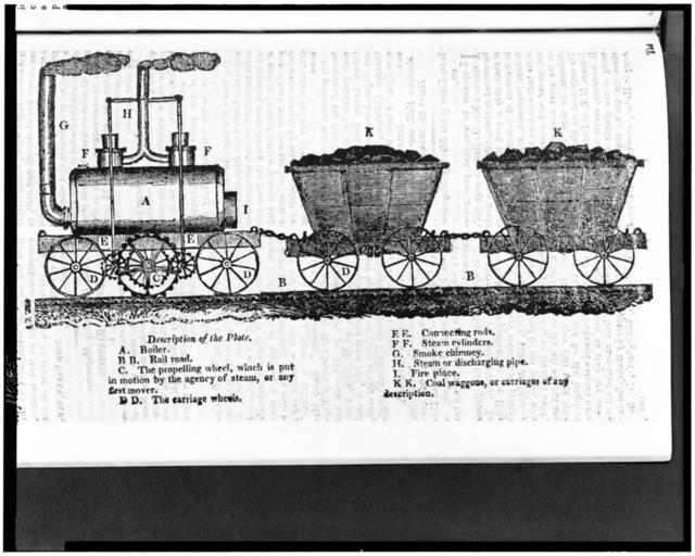"[Early steam locomotive with toothed ""propelling wheel"" which gripped a ribbed rail while other wheels rode on a smooth rail, and two coal cars]"