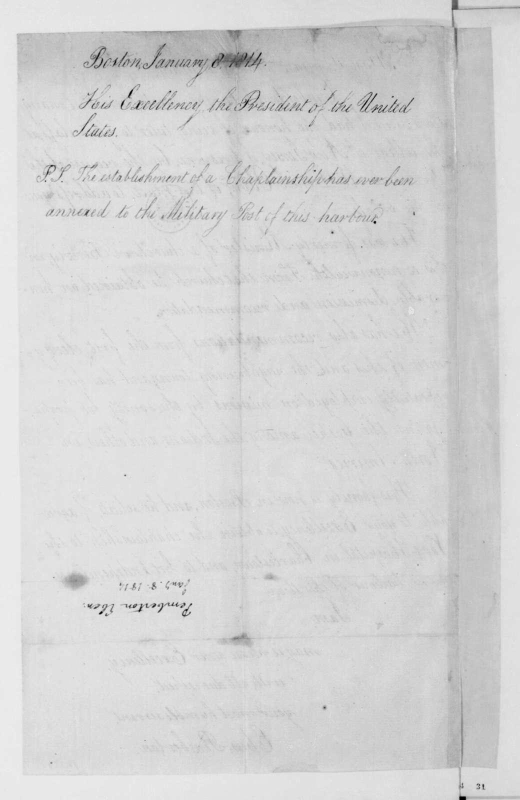 Ebenezar Pemberton to James Madison, January 8, 1814.