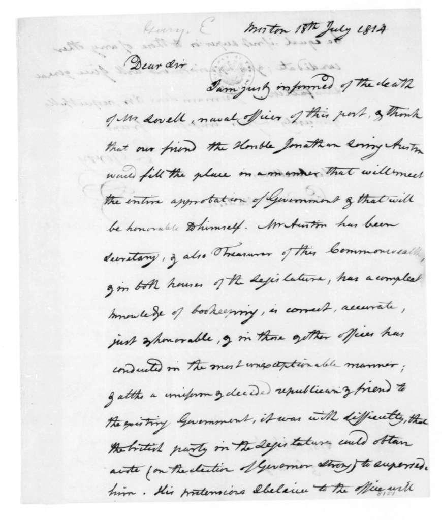 Elbridge Gerry to James Madison, July 18, 1814.