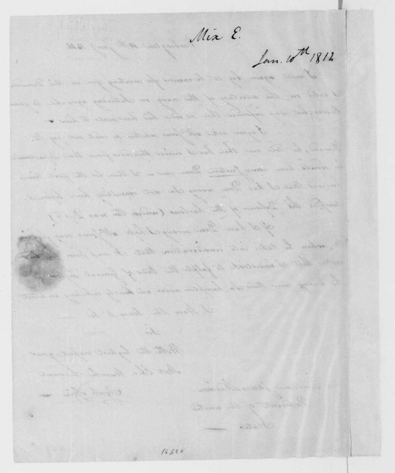 Elijah Mix to James Madison, January 10, 1814.