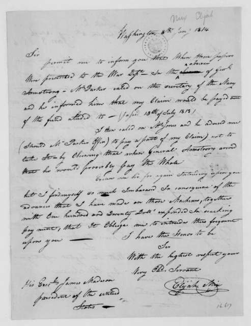 Elijah Mix to James Madison, January 8, 1814.