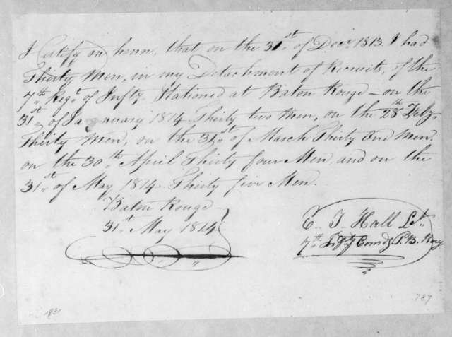 Elisha T. Hall, May 31, 1814