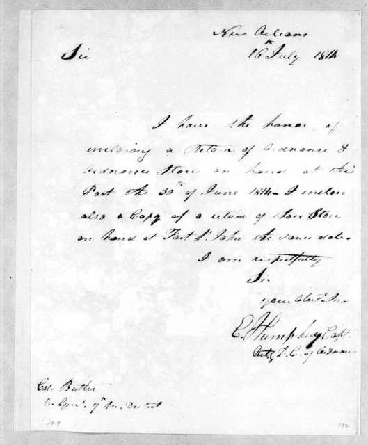 Enoch Humphrey to Robert Butler, July 16, 1814