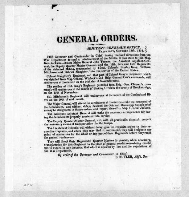 Frankfort Adjunct General's Office, October 18, 1814