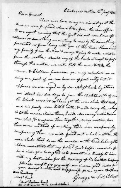 George Colbert to Andrew Jackson, January 10, 1814