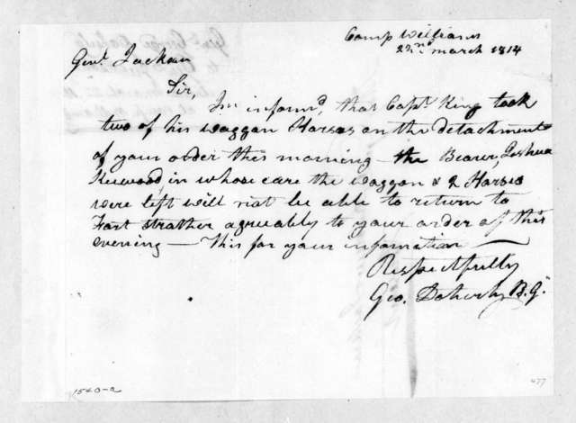 George Doherty to Andrew Jackson, March 22, 1814