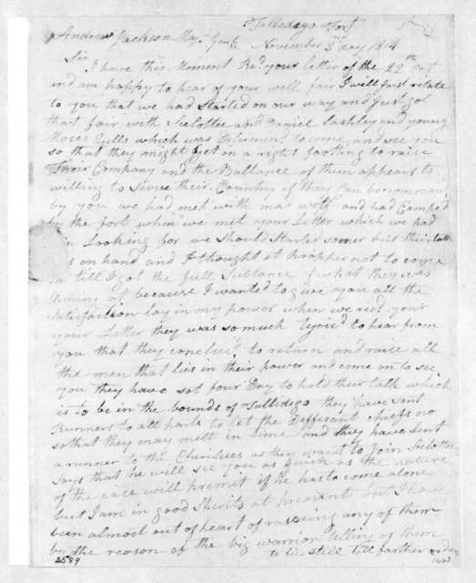 George Mayfield to Andrew Jackson, November 2, 1814