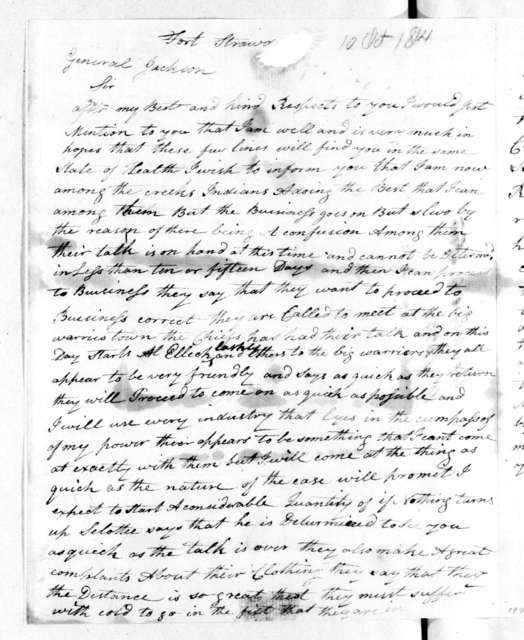 George Mayfield to Andrew Jackson, October 10, 1814