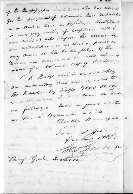 George Poindexter to Andrew Jackson, December 26, 1814