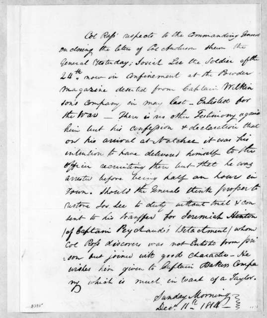 George Thompson Ross to Andrew Jackson, December 11, 1814