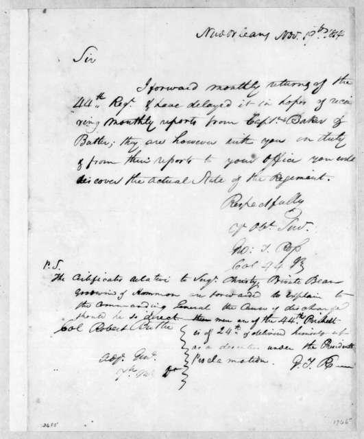 George Thompson Ross to Robert Butler, November 19, 1814