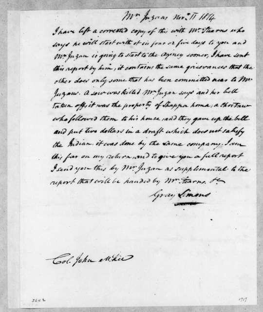 Gray Simms to John McKee, November 11, 1814