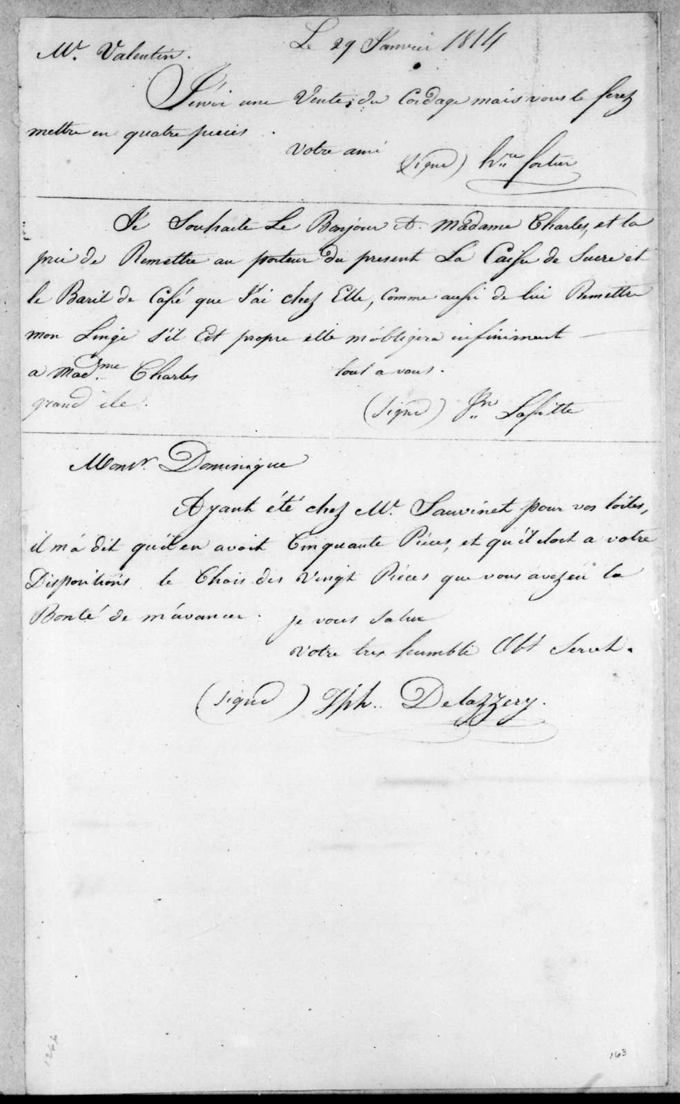 H. Portier to W. Valentin, January 29, 1814