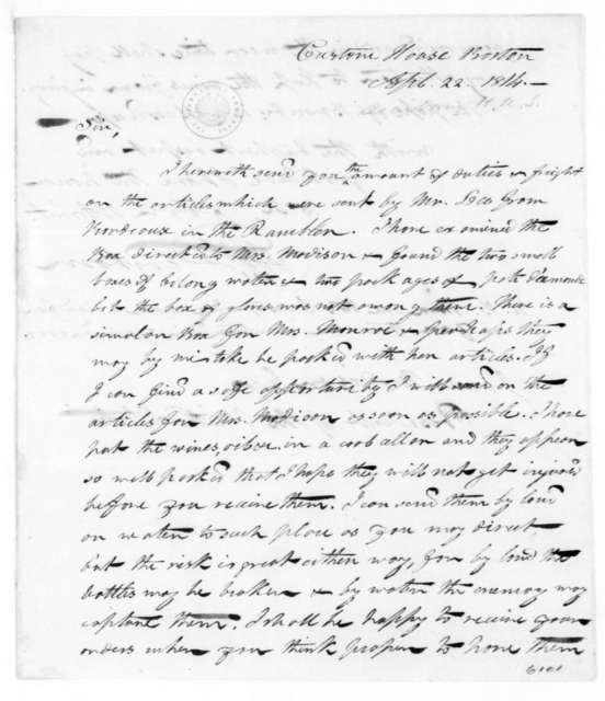 Henry Alexander Scammell Dearborn to James Madison, April 22, 1814.