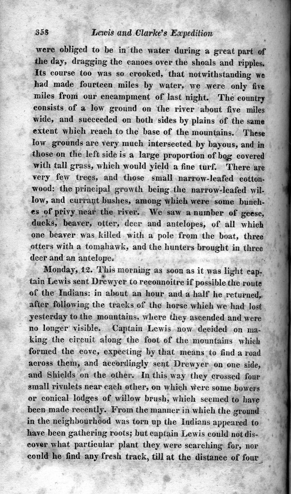 History of the expedition under the command of Captains Lewis and Clark, to the sources of the Missouri : thence across the Rocky mountains and down the river Columbia to the Pacific ocean ; performed during the years 1804-5-6 ; by order of the government of the United States, volume 1