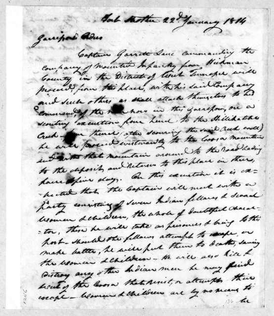 Howell Tatum, January 22, 1814