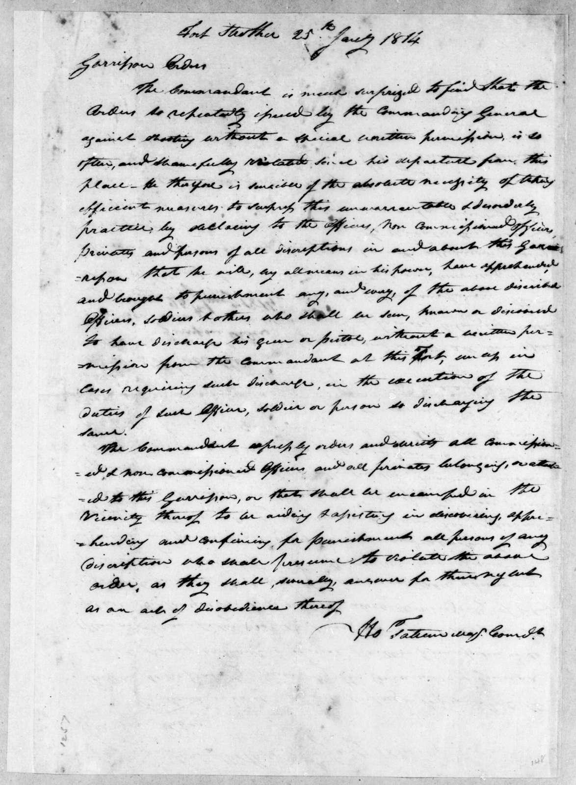 Howell Tatum, January 25, 1814