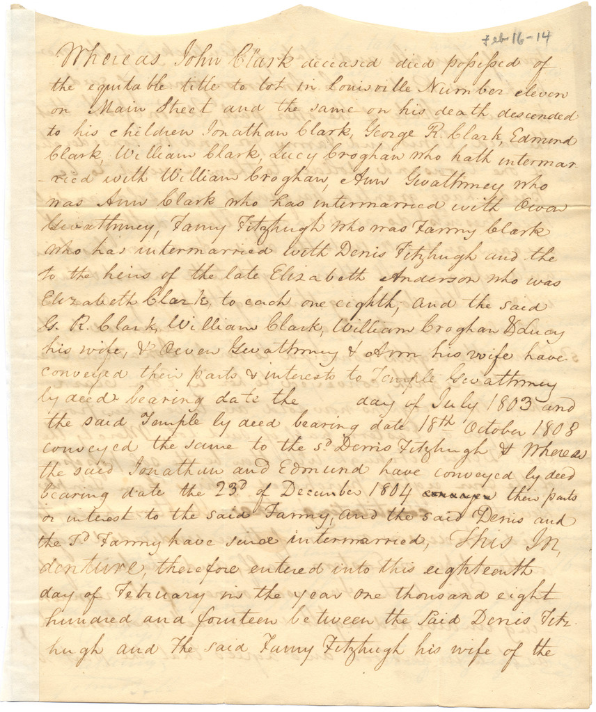 Indenture for the sale of land by Denis Fitzhugh and Fanny Clark Fitzhugh to Richard Clough Anderson