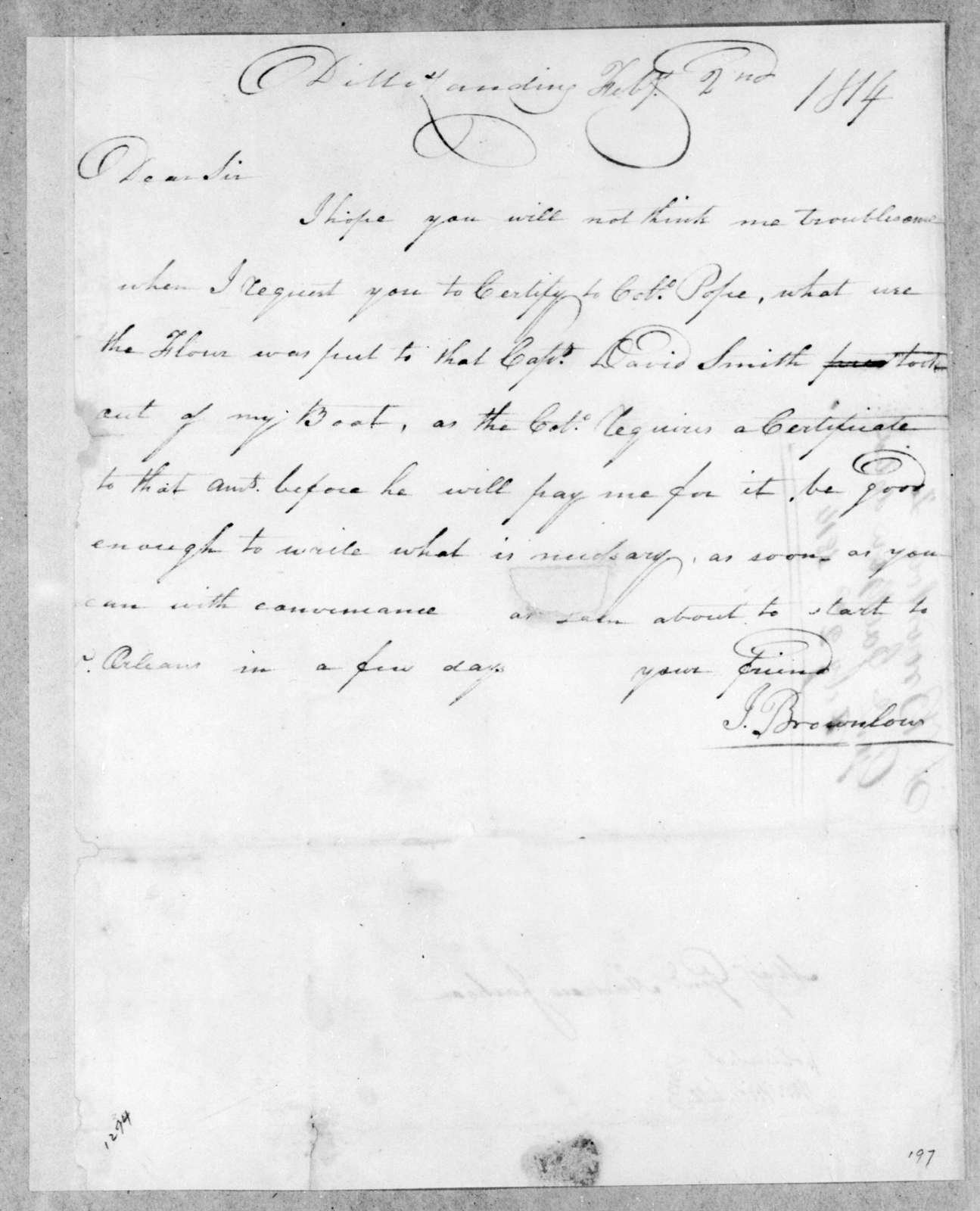 Isaac Brownlow to Andrew Jackson, February 2, 1814