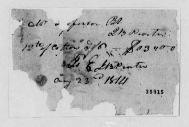 J. B. Porter to Thomas Jefferson, August 23, 1814, Receipt