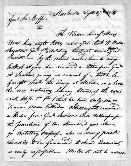 James Camp to John Coffee, September 27, 1814