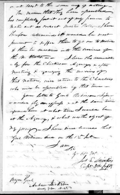 James Edward Dinkins to Andrew Jackson, September 9, 1814