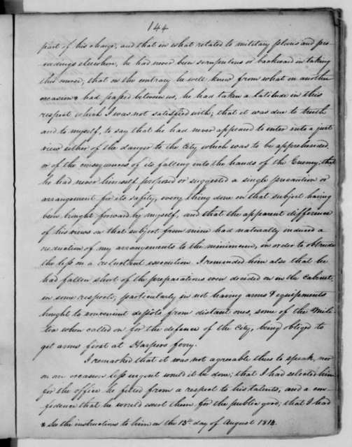 James Madison, August 24, 1814. Notes, Diary Entry for Aug. 24, 1814 and Aug. 29, 1814.