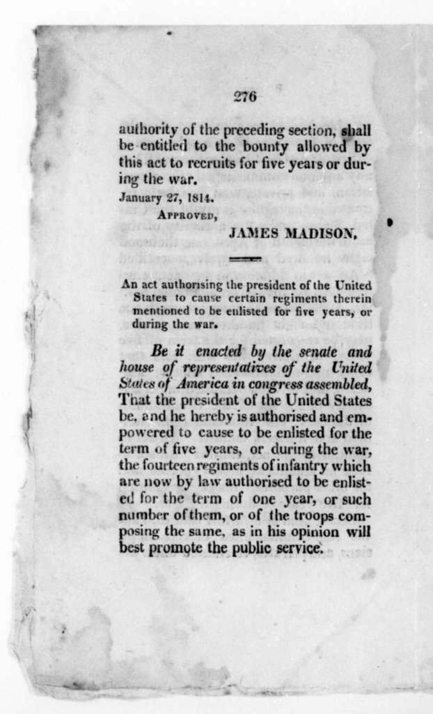 James Madison, January 27, 1814. Two Acts of Congress.